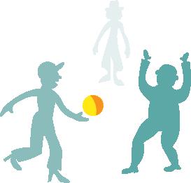 Gruppe ballspielende